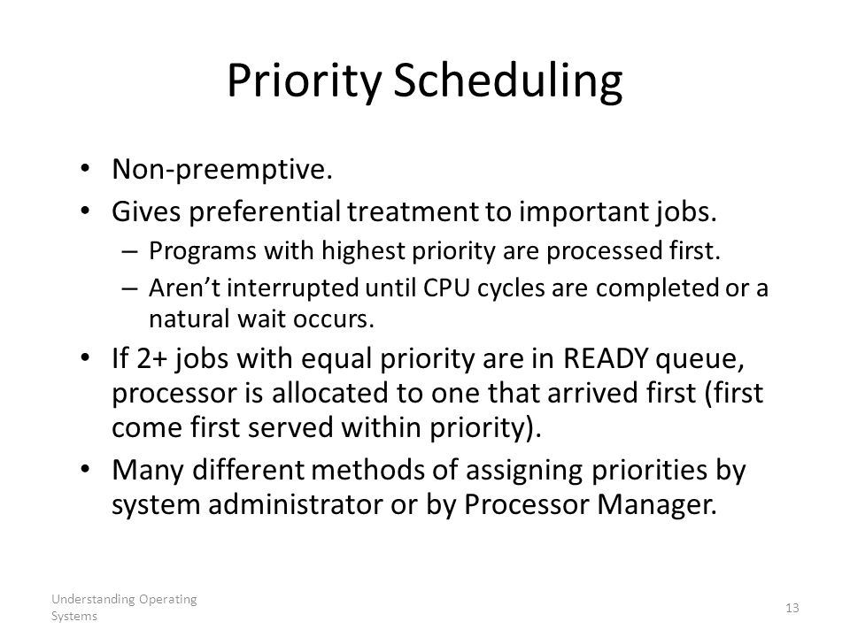 Understanding Operating Systems 13 Priority Scheduling Non-preemptive. Gives preferential treatment to important jobs. – Programs with highest priorit