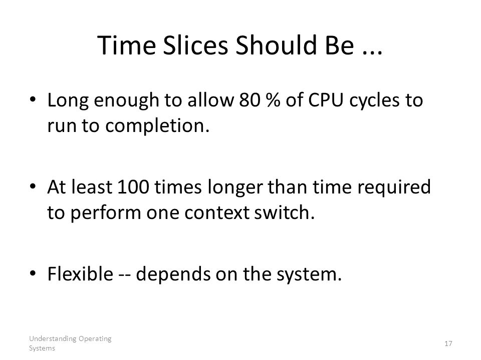 Understanding Operating Systems 17 Time Slices Should Be...