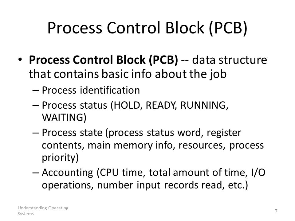 Understanding Operating Systems 7 Process Control Block (PCB) Process Control Block (PCB) -- data structure that contains basic info about the job – P