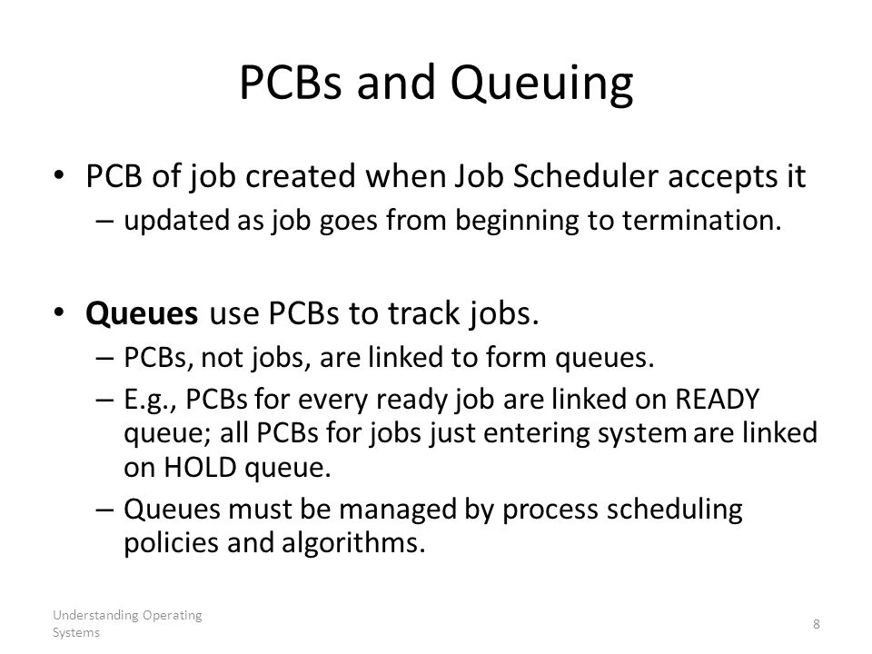 Understanding Operating Systems 9 Process Scheduling Algorithms First Come First Served (FCFS) Shortest Job Next (SJN) Priority Scheduling Shortest Remaining Time (SRT) Round Robin Multiple Level Queues