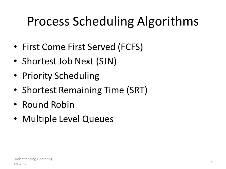 Understanding Operating Systems 9 Process Scheduling Algorithms First Come First Served (FCFS) Shortest Job Next (SJN) Priority Scheduling Shortest Re