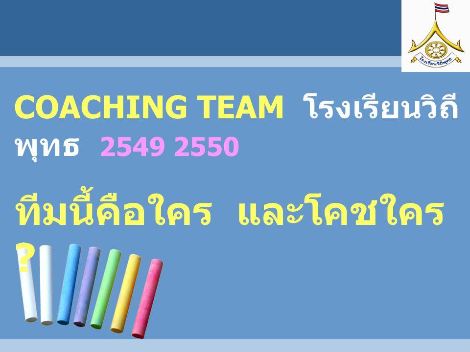 COACHING TEAM โรงเรียนวิถี พุทธ 2549 2550 ทีมนี้คือใคร และโคชใคร ?