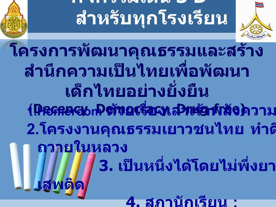 โครงการพัฒนาคุณธรรมและสร้าง สำนึกความเป็นไทยเพื่อพัฒนา เด็กไทยอย่างยั่งยืน (Decency Democracy Drug-free) 1.Homeroom ด้วยเรื่องเล่าเร้าพลังความดี 2.
