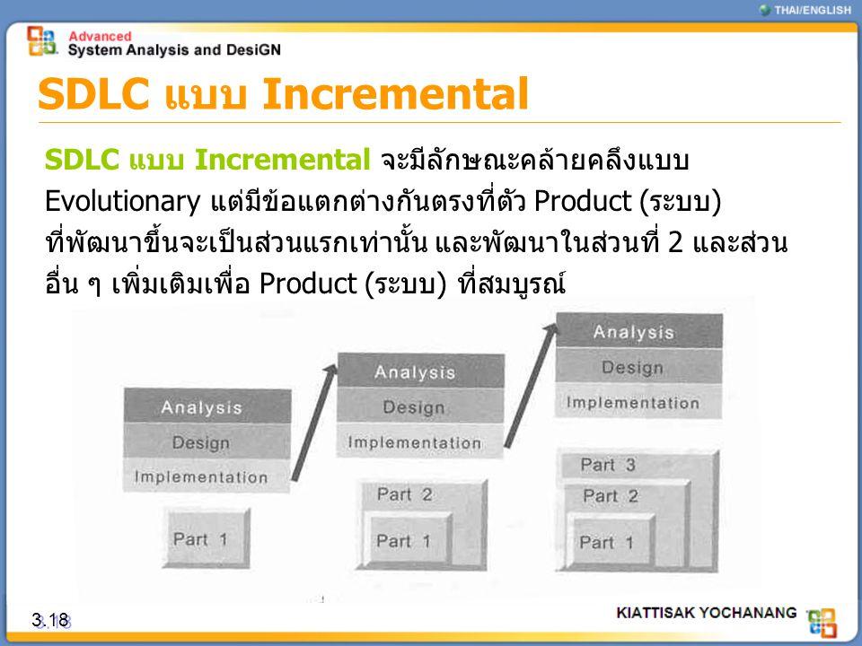 SDLC แบบ Incremental 3.18 SDLC แบบ Incremental จะมีลักษณะคล้ายคลึงแบบ Evolutionary แต่มีข้อแตกต่างกันตรงที่ตัว Product (ระบบ) ที่พัฒนาขึ้นจะเป็นส่วนแร