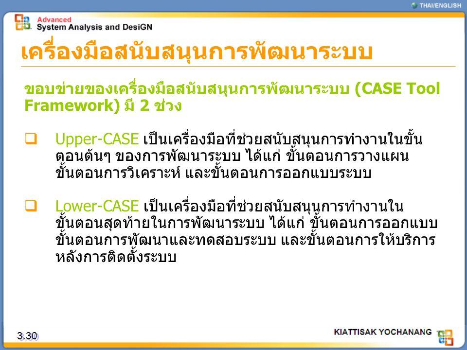 3.30 เครื่องมือสนับสนุนการพัฒนาระบบ ขอบข่ายของเครื่องมือสนับสนุนการพัฒนาระบบ (CASE Tool Framework) มี 2 ช่วง  Upper-CASE เป็นเครื่องมือที่ช่วยสนับสนุ