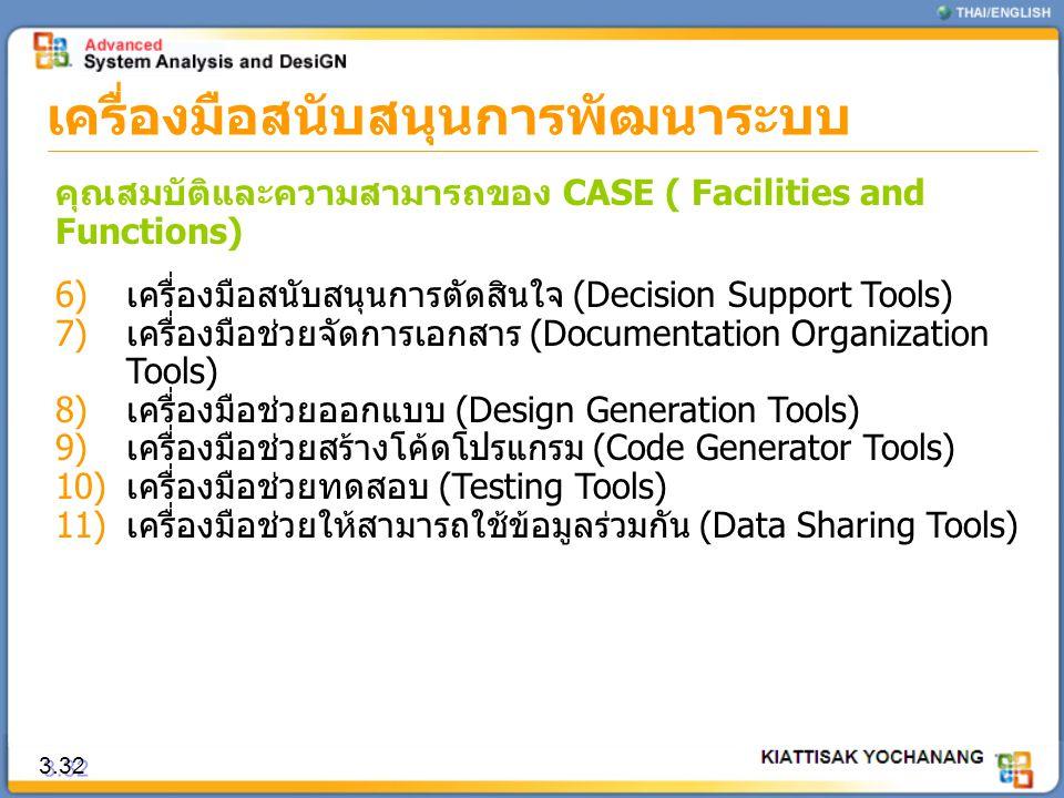 3.32 เครื่องมือสนับสนุนการพัฒนาระบบ คุณสมบัติและความสามารถของ CASE ( Facilities and Functions) 6)เครื่องมือสนับสนุนการตัดสินใจ (Decision Support Tools