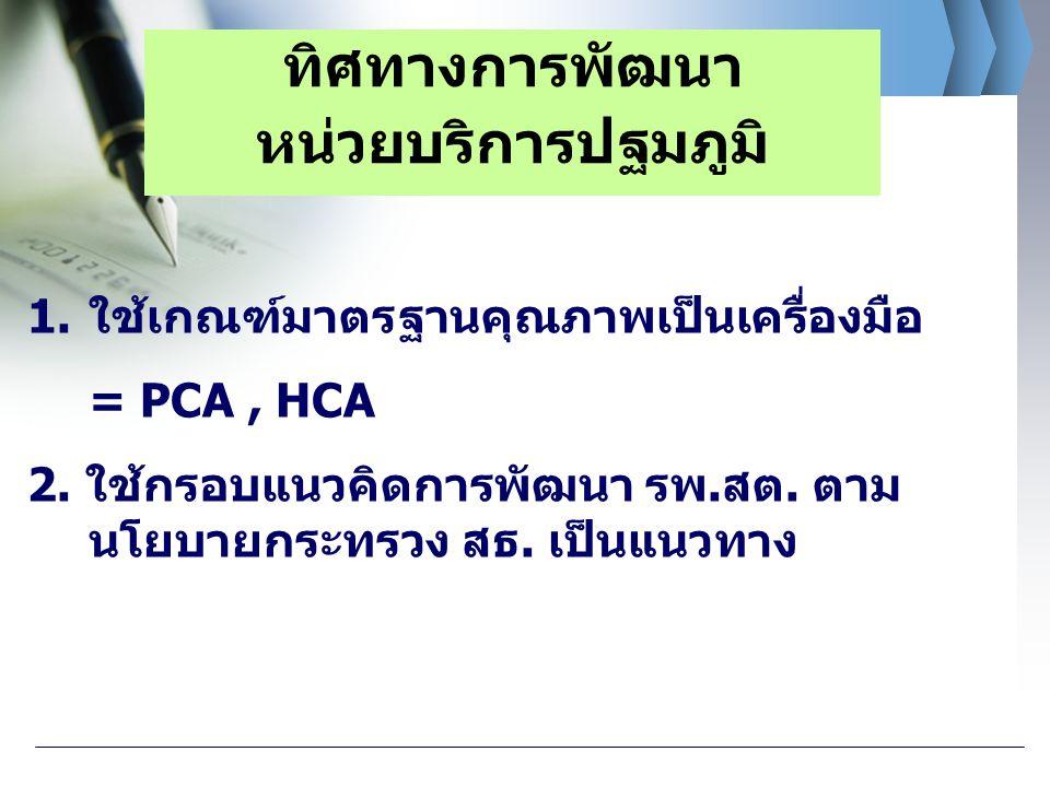 1.ใช้เกณฑ์มาตรฐานคุณภาพเป็นเครื่องมือ = PCA, HCA 2. ใช้กรอบแนวคิดการพัฒนา รพ.สต. ตาม นโยบายกระทรวง สธ. เป็นแนวทาง ทิศทางการพัฒนา หน่วยบริการปฐมภูมิ