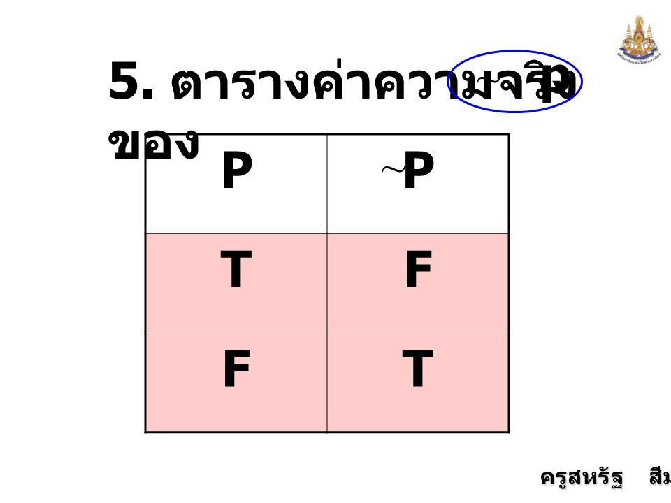 ครูสหรัฐ สีมานนท์ 5. ตารางค่าความจริง ของ p PP TF FT ~ ~