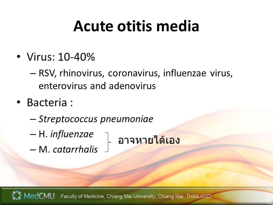 Acute otitis media Virus: 10-40% – RSV, rhinovirus, coronavirus, influenzae virus, enterovirus and adenovirus Bacteria : – Streptococcus pneumoniae –