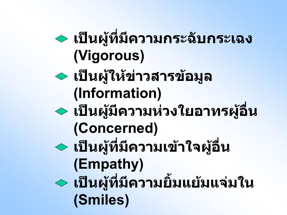 เป็นผู้ให้ข่าวสารข้อมูล (Information) เป็นผู้มีความห่วงใยอาทรผู้อื่น (Concerned) เป็นผู้ที่มีความเข้าใจผู้อื่น (Empathy) เป็นผู้ที่มีความกระฉับกระเฉง (Vigorous) เป็นผู้ที่มีความยิ้มแย้มแจ่มใน (Smiles)