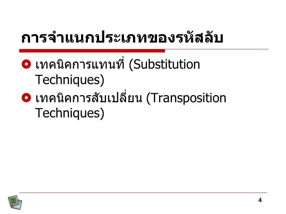 4 การจำแนกประเภทของรหัสลับ  เทคนิคการแทนที่ (Substitution Techniques)  เทคนิคการสับเปลี่ยน (Transposition Techniques)