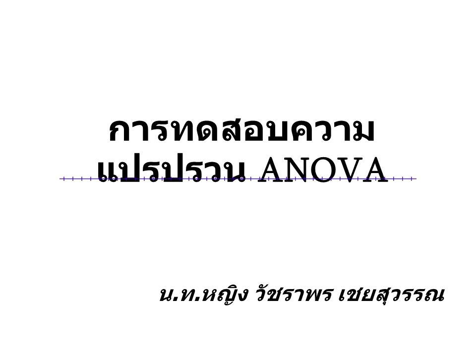 การทดสอบความ แปรปรวน ANOVA น. ท. หญิง วัชราพร เชยสุวรรณ