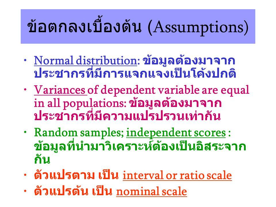 ข้อตกลงเบื้องต้น (Assumptions) Normal distribution: ข้อมูลต้องมาจาก ประชากรที่มีการแจกแจงเป็นโค้งปกติ Variances of dependent variable are equal in all populations: ข้อมูลต้องมาจาก ประชากรที่มีความแปรปรวนเท่ากัน Random samples; independent scores : ข้อมูลที่นำมาวิเคราะห์ต้องเป็นอิสระจาก กัน ตัวแปรตาม เป็น interval or ratio scale ตัวแปรต้น เป็น nominal scale