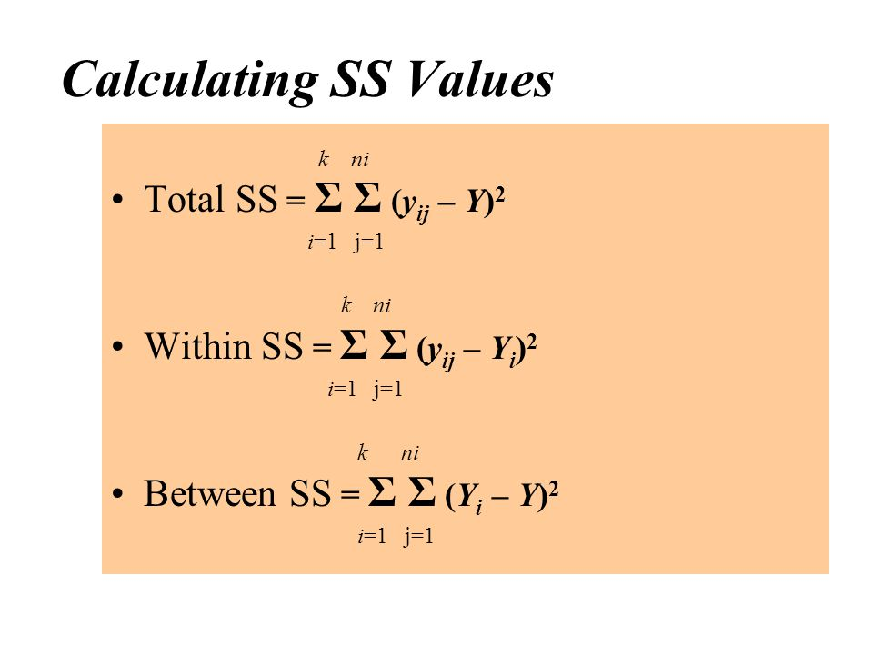 Calculating SS Values k ni Total SS = Σ Σ (y ij – Y) 2 i=1 j=1 k ni Within SS = Σ Σ (y ij – Y i ) 2 i=1 j=1 k ni Between SS = Σ Σ (Y i – Y) 2 i=1 j=1