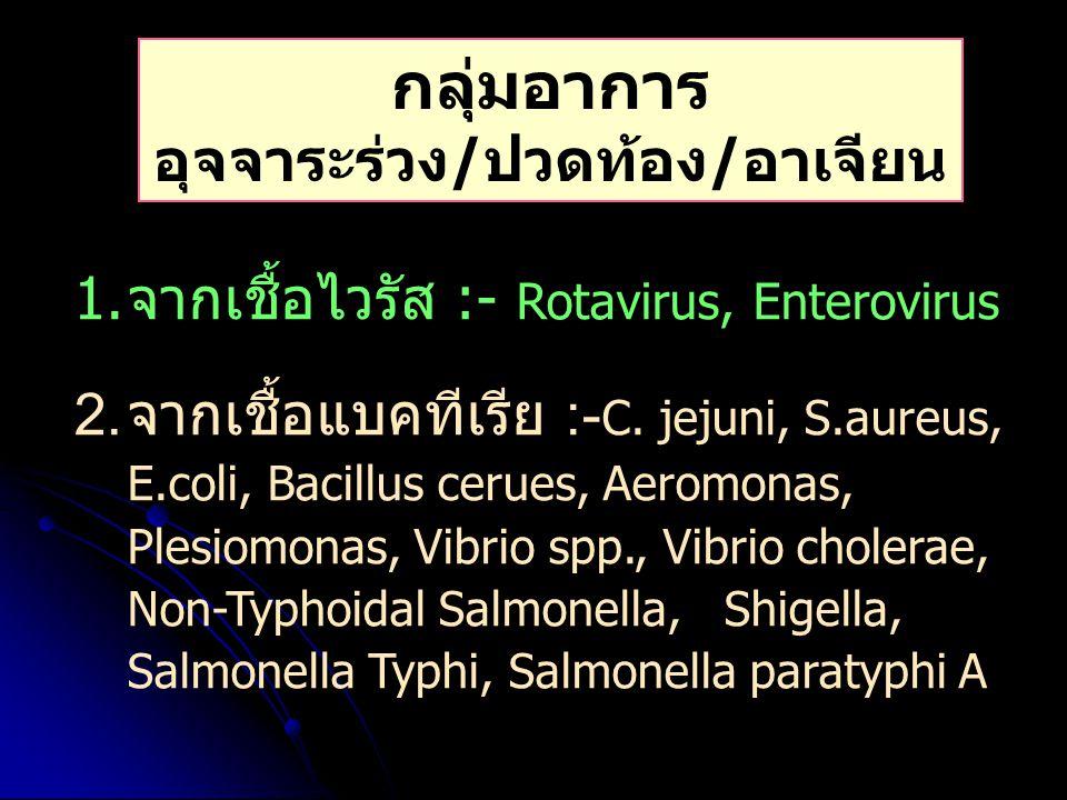 กลุ่มอาการ อุจจาระร่วง/ปวดท้อง/อาเจียน 1.จากเชื้อไวรัส :- Rotavirus, Enterovirus 2. จากเชื้อแบคทีเรีย :- C. jejuni, S.aureus, E.coli, Bacillus cerues,