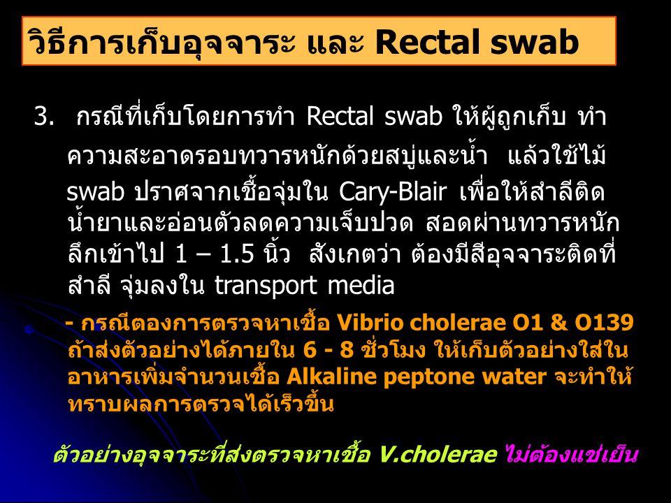 วิธีการเก็บอุจจาระ และ Rectal swab 3. กรณีที่เก็บโดยการทำ Rectal swab ให้ผู้ถูกเก็บ ทำ ความสะอาดรอบทวารหนักด้วยสบู่และน้ำ แล้วใช้ไม้ swab ปราศจากเชื้อ