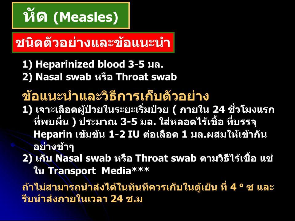 1) Heparinized blood 3-5 มล. 2) Nasal swab หรือ Throat swab ข้อแนะนำและวิธีการเก็บตัวอย่าง 1) เจาะเลือดผู้ป่วยในระยะเริ่มป่วย ( ภายใน 24 ชั่วโมงแรก ที