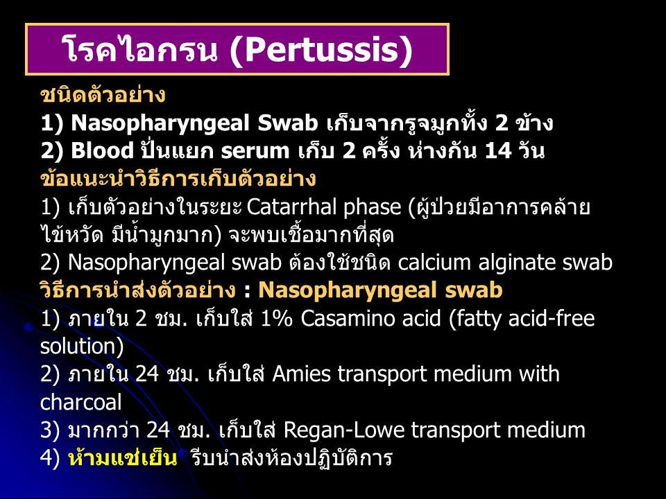 โรคไอกรน (Pertussis) ชนิดตัวอย่าง 1) Nasopharyngeal Swab เก็บจากรูจมูกทั้ง 2 ข้าง 2) Blood ปั่นแยก serum เก็บ 2 ครั้ง ห่างกัน 14 วัน ข้อแนะนำวิธีการเก