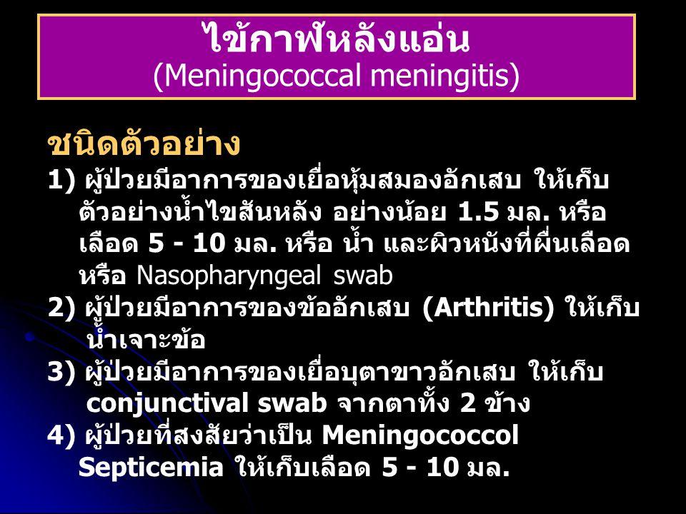 ไข้กาฬหลังแอ่น (Meningococcal meningitis) ชนิดตัวอย่าง 1) ผู้ป่วยมีอาการของเยื่อหุ้มสมองอักเสบ ให้เก็บ ตัวอย่างน้ำไขสันหลัง อย่างน้อย 1.5 มล. หรือ เลื