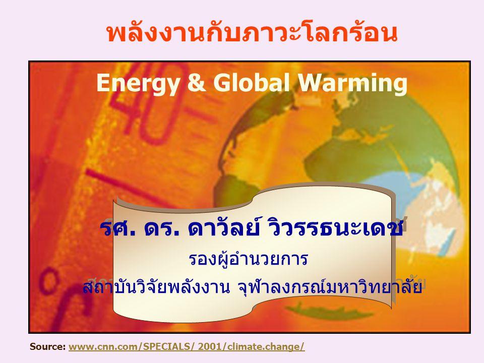 พลังงานเกี่ยวข้องกับภาวะโลกร้อนอย่างไร?การเผาไหม้เชื้อเพลิงเพื่อคุณภาพชีวิตของมนุษย์ CO 2 สะสมในชั้นบรรยากาศ ทำหน้าที่เสมือนผ้าห่มผืนใหญ่ห่อหุ้มโลก เกิด Greenhouse Effect Global Warming Climate Change Global Warming & Climate Change