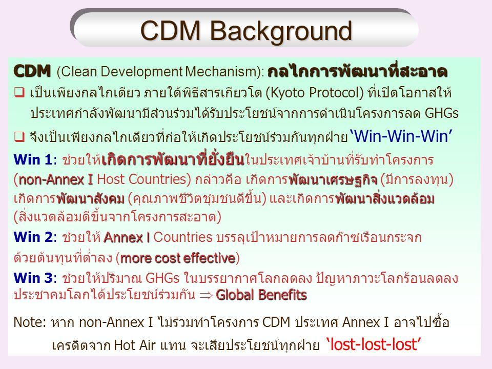 CDM Background CDMกลไกการพัฒนาที่สะอาด CDM (Clean Development Mechanism): กลไกการพัฒนาที่สะอาด  เป็นเพียงกลไกเดียว ภายใต้พิธีสารเกียวโต (Kyoto Protocol) ที่เปิดโอกาสให้ ประเทศกำลังพัฒนามีส่วนร่วมได้รับประโยชน์จากการดำเนินโครงการลด GHGs  จึงเป็นเพียงกลไกเดียวที่ก่อให้เกิดประโยชน์ร่วมกันทุกฝ่าย 'Win-Win-Win' เกิดการพัฒนาที่ยั่งยืน Win 1: ช่วยให้ เกิดการพัฒนาที่ยั่งยืน ในประเทศเจ้าบ้านที่รับทำโครงการ non-Annex Iพัฒนาเศรษฐกิจ (non-Annex I Host Countries) กล่าวคือ เกิดการพัฒนาเศรษฐกิจ (มีการลงทุน) พัฒนาสังคมพัฒนาสิ่งแวดล้อม เกิดการพัฒนาสังคม (คุณภาพชีวิตชุมชนดีขึ้น) และเกิดการพัฒนาสิ่งแวดล้อม (สิ่งแวดล้อมดีขึ้นจากโครงการสะอาด) Annex I Win 2: ช่วยให้ Annex I Countries บรรลุเป้าหมายการลดก๊าซเรือนกระจก more cost effective ด้วยต้นทุนที่ต่ำลง (more cost effective) Global Benefits Win 3: ช่วยให้ปริมาณ GHGs ในบรรยากาศโลกลดลง ปัญหาภาวะโลกร้อนลดลง ประชาคมโลกได้ประโยชน์ร่วมกัน  Global Benefits Note: หาก non-Annex I ไม่ร่วมทำโครงการ CDM ประเทศ Annex I อาจไปซื้อ เครดิตจาก Hot Air แทน จะเสียประโยชน์ทุกฝ่าย 'lost-lost-lost' CDM Background