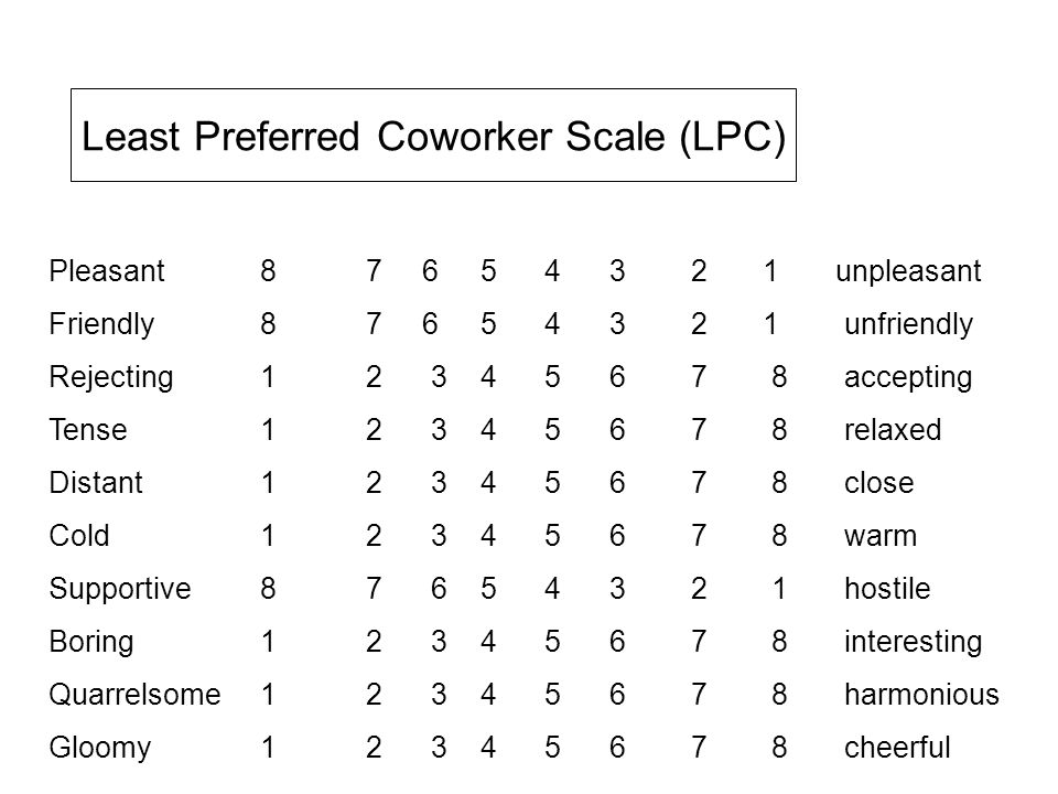 Least Preferred Coworker Scale (LPC) Pleasant 87 6 5 4 3 2 1 unpleasant Friendly 8 7 6 5 4 3 2 1 unfriendly Rejecting 1 2 3 4 5 6 7 8 accepting Tense 1 2 3 4 5 6 7 8 relaxed Distant 1 2 3 4 5 6 7 8 close Cold 1 2 3 4 5 6 7 8 warm Supportive 8 7 6 5 4 3 2 1 hostile Boring 1 2 3 4 5 6 7 8 interesting Quarrelsome 1 2 3 4 5 6 7 8 harmonious Gloomy1 2 3 4 5 6 7 8 cheerful