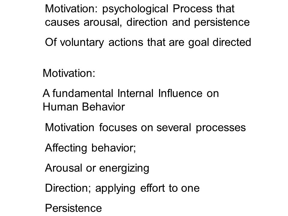 Motivation: A fundamental Internal Influence on Human Behavior Motivation: psychological Process that causes arousal, direction and persistence Of voluntary actions that are goal directed Motivation focuses on several processes Affecting behavior; Arousal or energizing Direction; applying effort to one Persistence