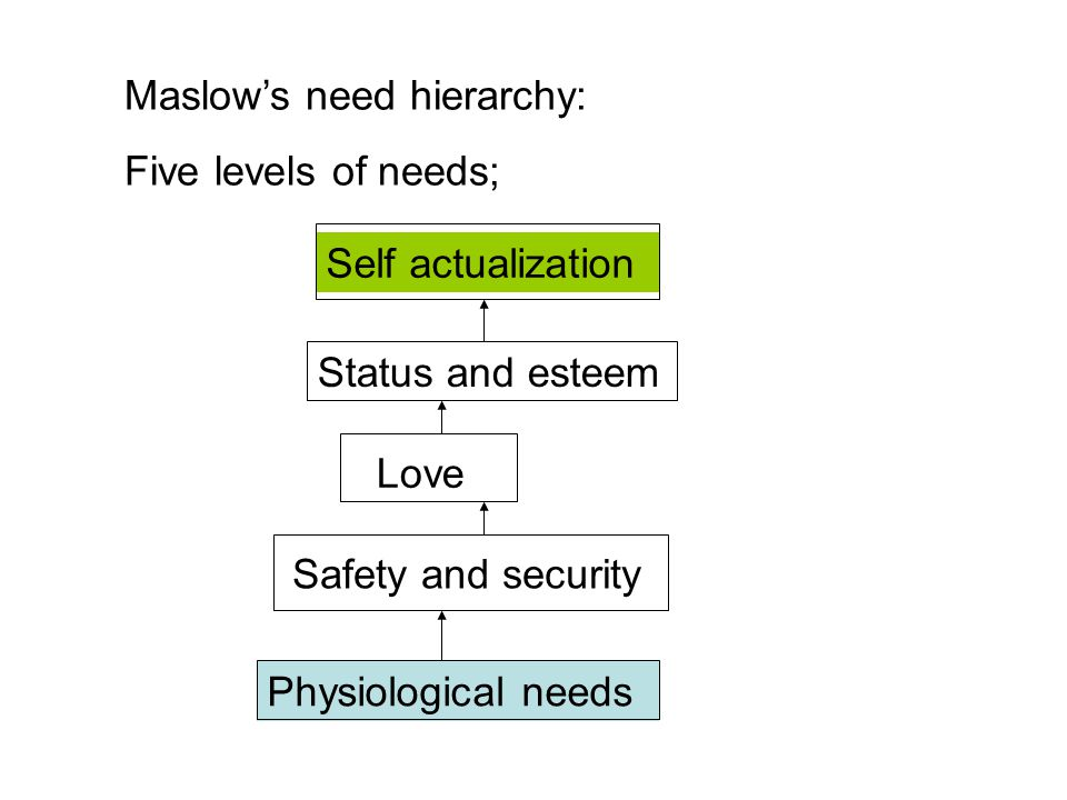 Maslow's need hierarchy: Five levels of needs; Self actualization Status and esteem Love Safety and security Physiological needs