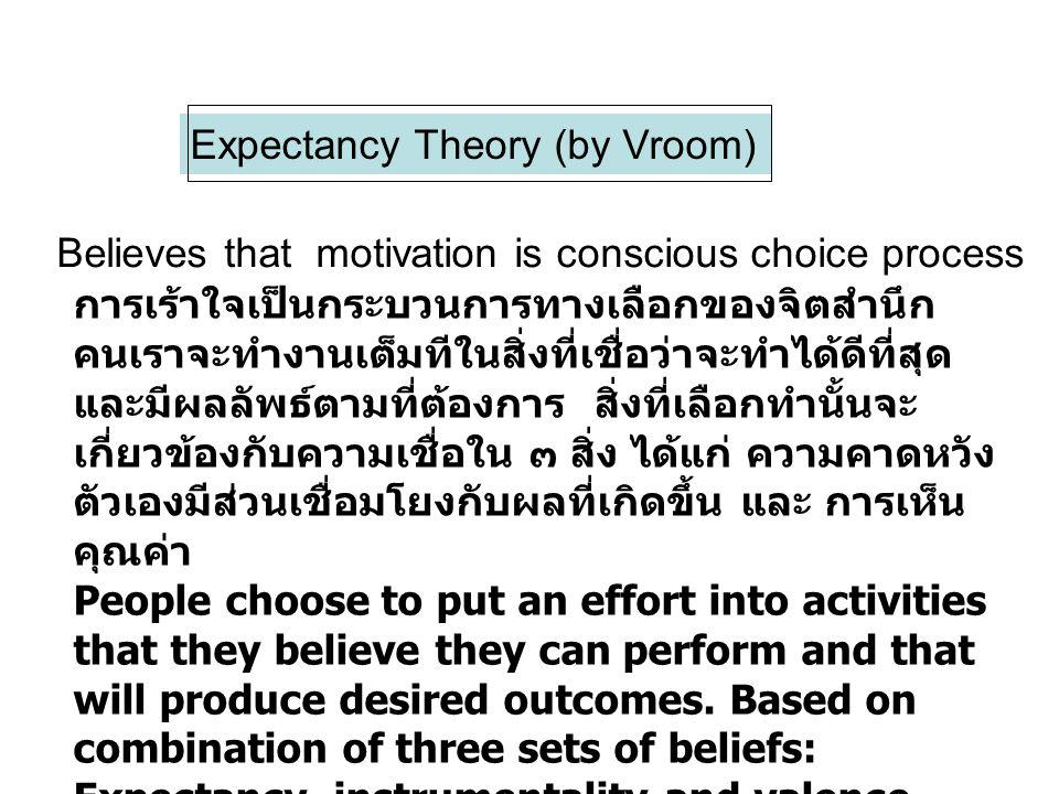 Expectancy Theory (by Vroom) Believes that motivation is conscious choice process การเร้าใจเป็นกระบวนการทางเลือกของจิตสำนึก คนเราจะทำงานเต็มทีในสิ่งที