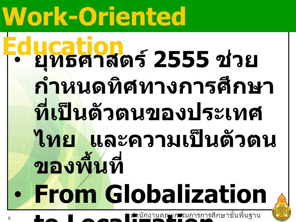 สำนักงานคณะกรรมการการศึกษาขั้นพื้นฐาน 8 ยุทธศาสตร์ 2555 ช่วย กำหนดทิศทางการศึกษา ที่เป็นตัวตนของประเทศ ไทย และความเป็นตัวตน ของพื้นที่ From Globalization to Localization Work-Oriented Education