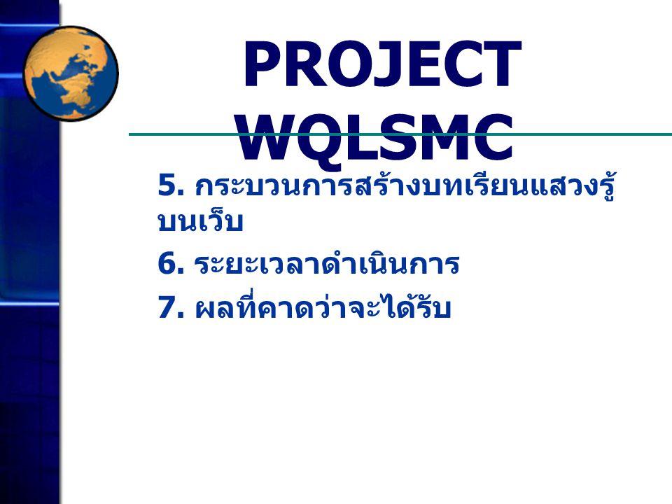 PROJECT WQLSMC 5. กระบวนการสร้างบทเรียนแสวงรู้ บนเว็บ 6. ระยะเวลาดำเนินการ 7. ผลที่คาดว่าจะได้รับ