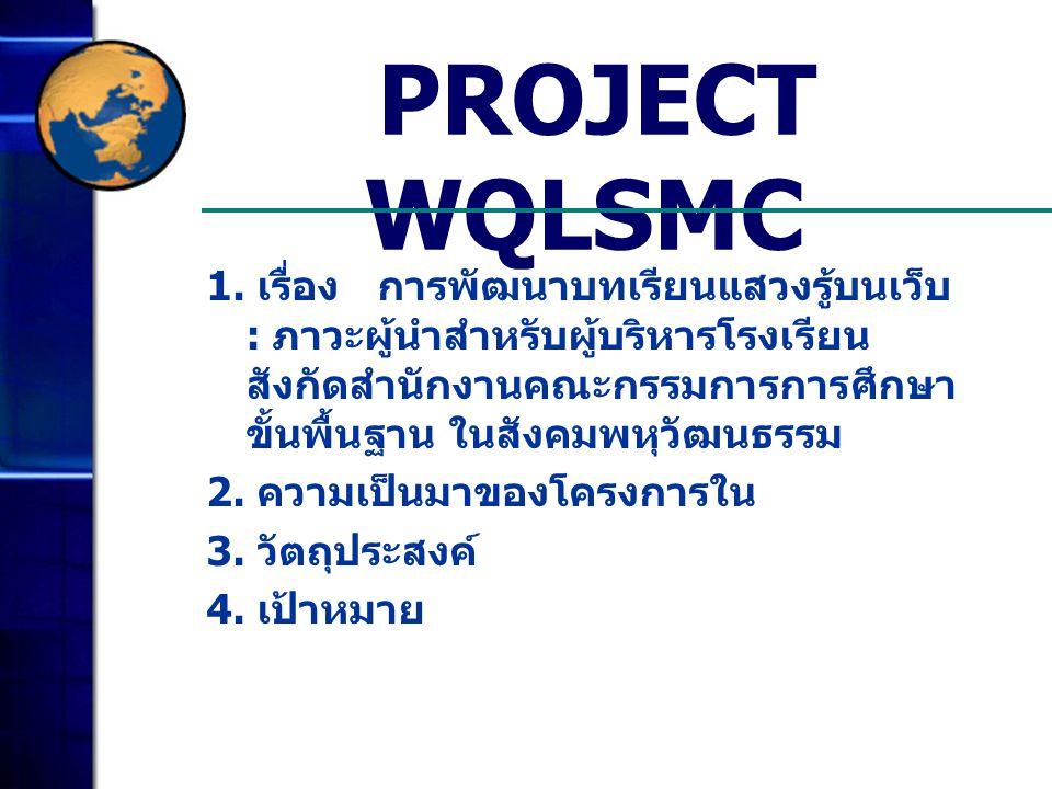 PROJECT WQLSMC 1. เรื่อง การพัฒนาบทเรียนแสวงรู้บนเว็บ : ภาวะผู้นำสำหรับผู้บริหารโรงเรียน สังกัดสำนักงานคณะกรรมการการศึกษา ขั้นพื้นฐาน ในสังคมพหุวัฒนธร