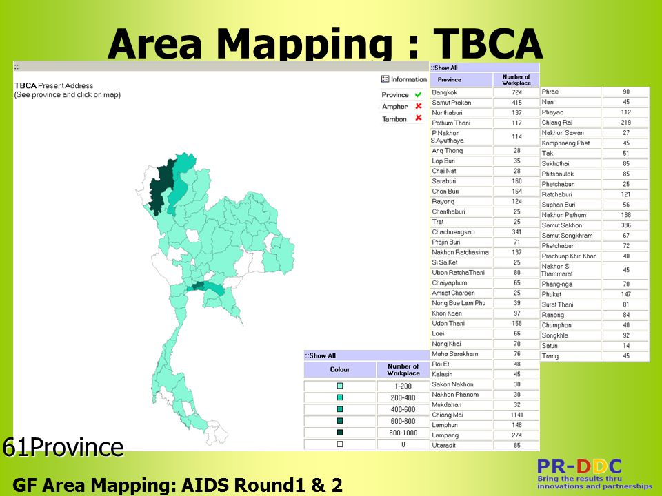Area Mapping : TBCA GF Area Mapping: AIDS Round1 & 2 61Province
