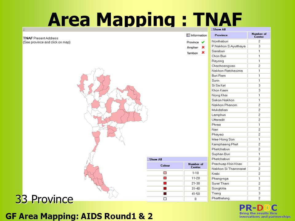 Area Mapping : TNAF GF Area Mapping: AIDS Round1 & 2 33 Province