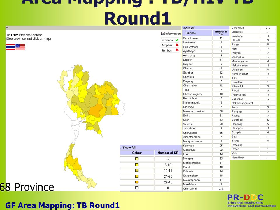 Area Mapping : TB/HIV TB Round1 GF Area Mapping: TB Round1 68 Province