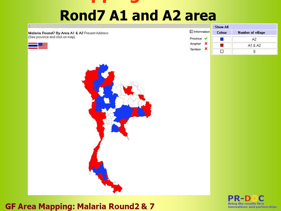 Overlapping Area Malaria Rond7 A1 and A2 area GF Area Mapping: Malaria Round2 & 7