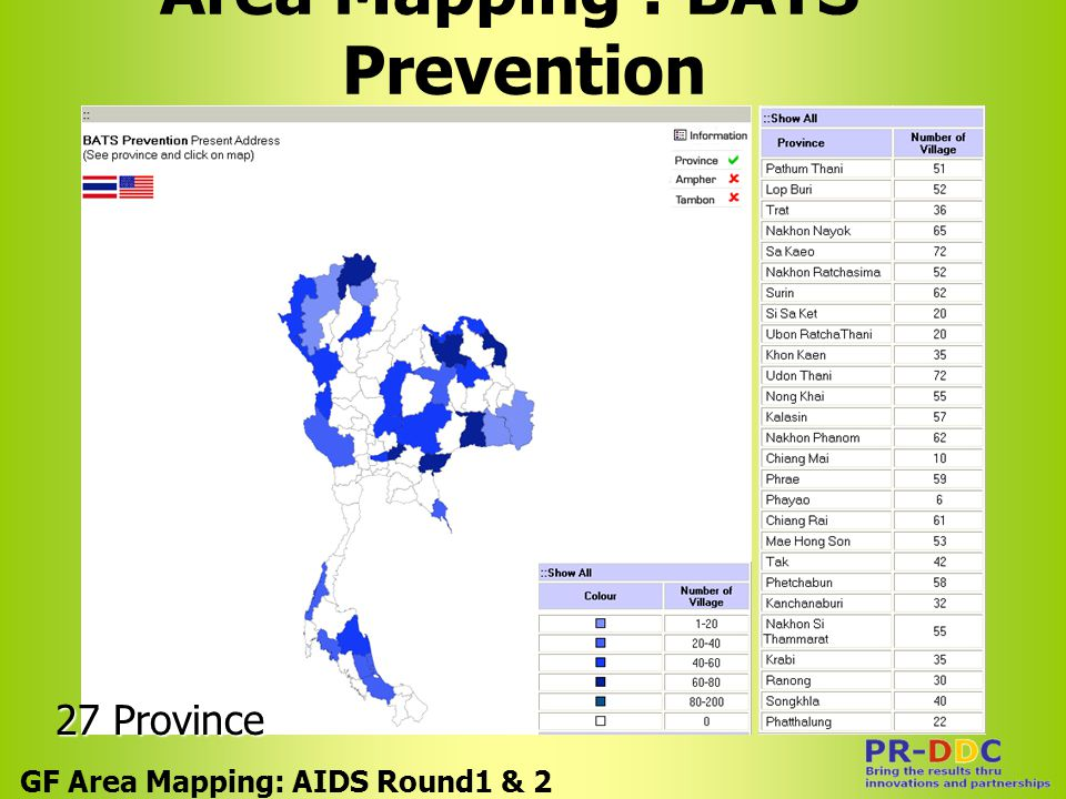 Area Mapping : BATS- Prevention GF Area Mapping: AIDS Round1 & 2 27 Province