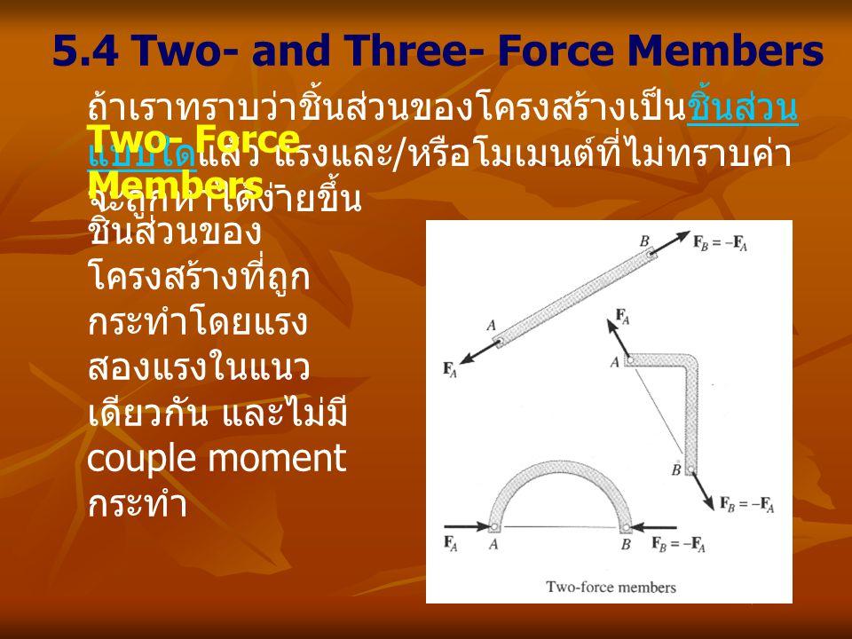 5.4 Two- and Three- Force Members ถ้าเราทราบว่าชิ้นส่วนของโครงสร้างเป็นชิ้นส่วน แบบใดแล้ว แรงและ / หรือโมเมนต์ที่ไม่ทราบค่า จะถูกหาได้ง่ายขึ้น Two- Fo