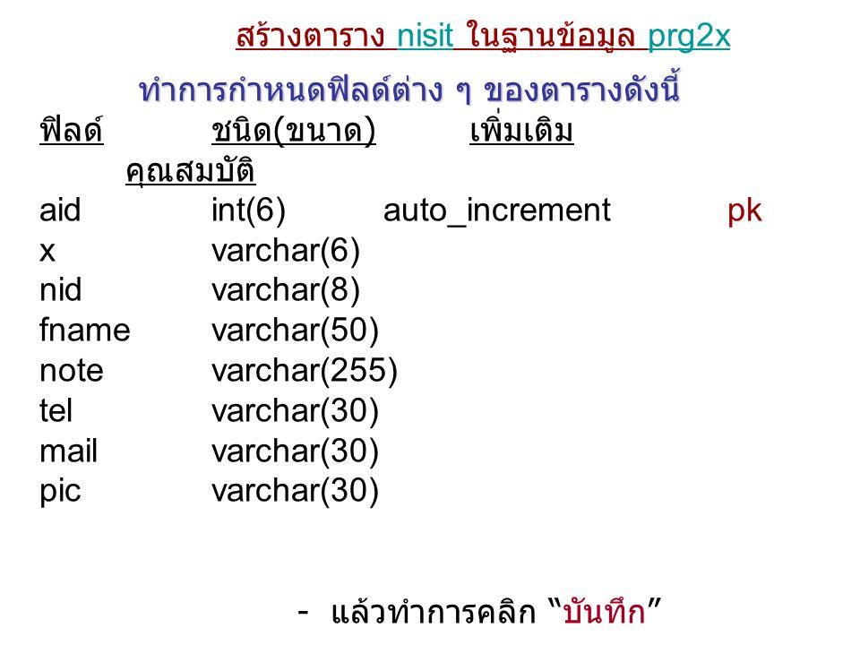 สร้างตาราง nisit ในฐานข้อมูล prg2x ทำการกำหนดฟิลด์ต่าง ๆ ของตารางดังนี้ ฟิลด์ชนิด ( ขนาด ) เพิ่มเติม คุณสมบัติ aidint(6)auto_incrementpk xvarchar(6) n