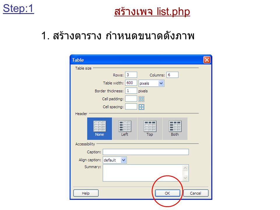 สร้างเพจ list.php 1. สร้างตาราง กำหนดขนาดดังภาพ Step:1