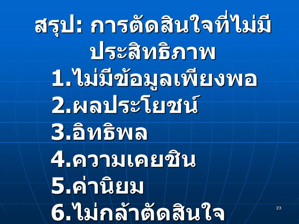 23 สรุป : การตัดสินใจที่ไม่มี ประสิทธิภาพ 1. ไม่มีข้อมูลเพียงพอ 2. ผลประโยชน์ 3. อิทธิพล 4. ความเคยชิน 5. ค่านิยม 6. ไม่กล้าตัดสินใจ