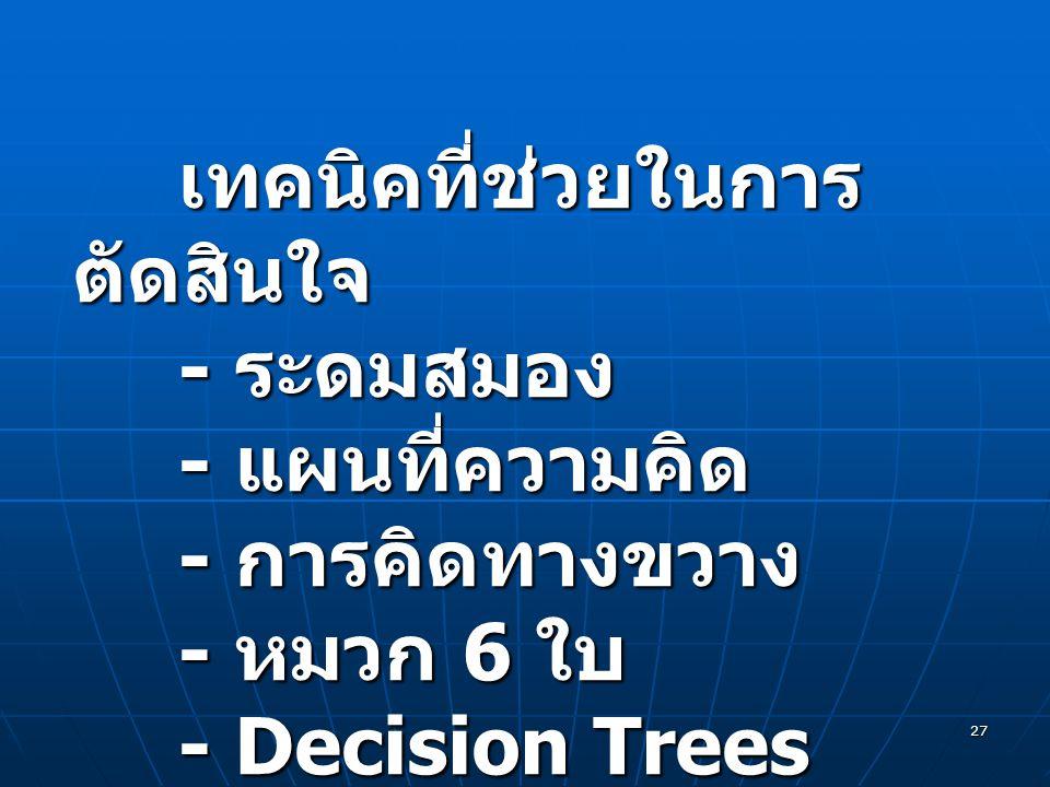 27 เทคนิคที่ช่วยในการ ตัดสินใจ - ระดมสมอง - แผนที่ความคิด - การคิดทางขวาง - หมวก 6 ใบ - Decision Trees