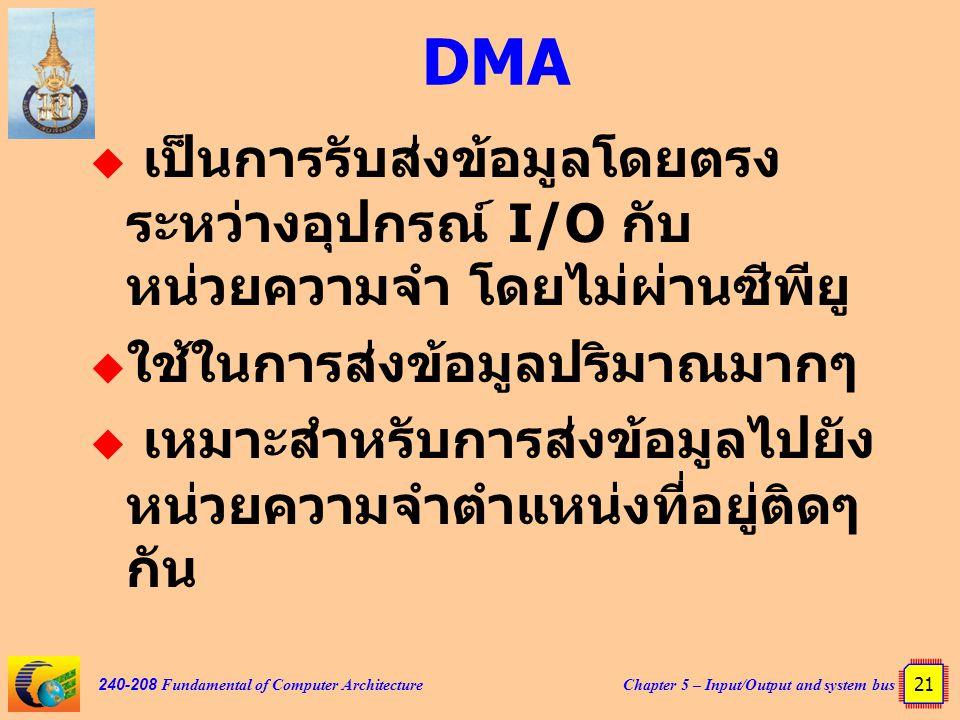 Chapter 5 – Input/Output and system bus 21 240-208 Fundamental of Computer Architecture DMA  เป็นการรับส่งข้อมูลโดยตรง ระหว่างอุปกรณ์ I/O กับ หน่วยคว