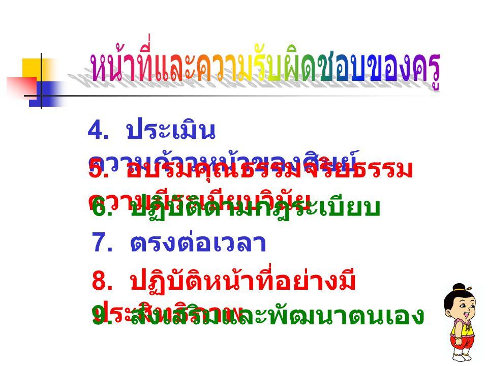 4. ประเมิน ความก้าวหน้าของศิษย์ 5. อบรมคุณธรรมจริยธรรม ความมีระเบียบวินัย 6. ปฏิบัติตามกฎระเบียบ 7. ตรงต่อเวลา 8. ปฏิบัติหน้าที่อย่างมี ประสิทธิภาพ 9.