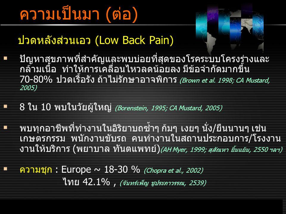 LOGO www.themegallery.com ความเป็นมา (ต่อ) ปวดหลังส่วนเอว (Low Back Pain)  ปัญหาสุขภาพที่สำคัญและพบบ่อยที่สุดของโรคระบบโครงร่างและ กล้ามเนื้อ ทำให้การเคลื่อนไหวลดน้อยลง มีข้อจำกัดมากขึ้น 70-80% ปวดเรื้อรัง ถ้าไม่รักษาอาจพิการ (Brown et al.