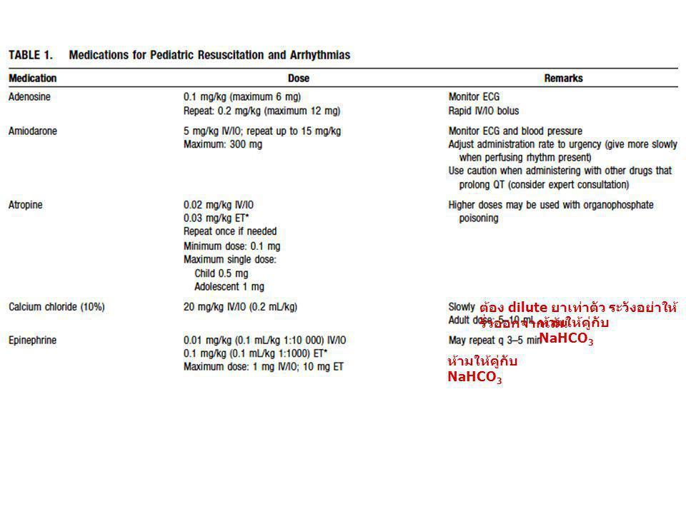 ห้ามให้คู่กับ NaHCO 3 ต้อง dilute ยาเท่าตัว ระวังอย่าให้ รั่วออกจากเส้น