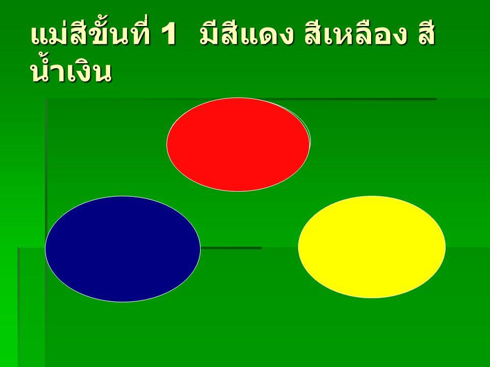 แม่สีขั้นที่ 1 มีสีแดง สีเหลือง สี น้ำเงิน