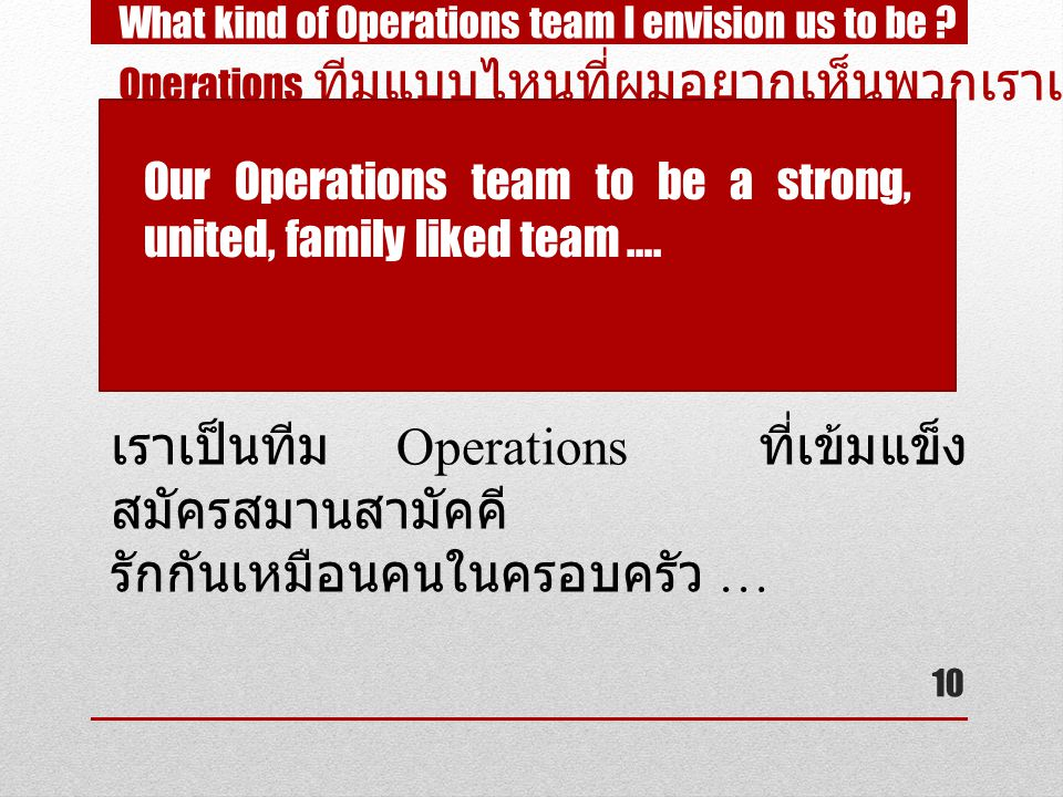 10 What kind of Operations team I envision us to be .