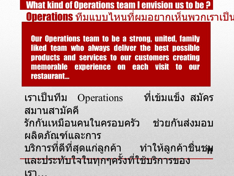 11 What kind of Operations team I envision us to be .