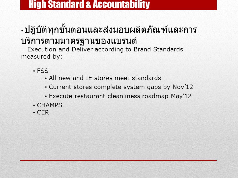 High Standard & Accountability ปฎิบัติทุกขั้นตอนและส่งมอบผลิตภัณฑ์และการ บริการตามมาตรฐานของแบรนด์ Execution and Deliver according to Brand Standards measured by: FSS All new and IE stores meet standards Current stores complete system gaps by Nov'12 Execute restaurant cleanliness roadmap May'12 CHAMPS CER